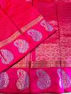 Pink color soft linen silk handloom saree with golden zari checks
