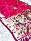 Pink kanchipuram paithani silk saree with zari work