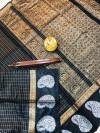 Black color soft linen silk handloom saree with golden zari checks