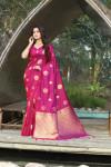 Pink color soft & Pure cotton silk saree with pure gold zari work