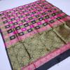 Black and pink color soft banarasi silk saree