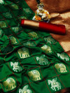 Green color soft silk saree with golden and silver zari work