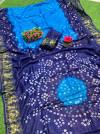 Firoji color hand bandhej bandhani saree