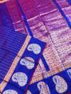 Blue color soft linen silk handloom saree with golden zari checks