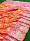 Peach color pure banarasi silk saree with golden zari work