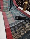 Gray color pure tussar silk jamdani weaving saree