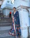 Navy blue color pure jamdani weaving saree with zari work