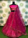 Pink color heavy net lehenga with badala embroidery work