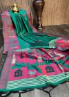 Rama green color handloom raw silk saree with zari woven work