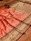 Pink color Kanjivaram silk jacquard saree with golden zari weaving work
