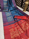 Blue color pure tussar silk jamdani weaving saree