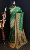 Green color raw silk saree with stylish rich pallu