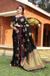Black color soft & Pure cotton silk saree with pure gold zari work