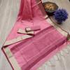 Pink color aasam weaving saree with ikat woven pallu