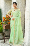 Green color linen cotton saree with zari weaving embroidered work
