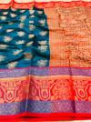 Rama green color kanchipuram handloom weaving silk saree with zari work