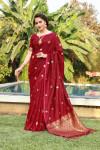 Red color soft & Pure cotton silk saree with pure gold zari work