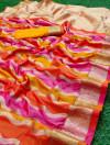 Orange and pink color banarasi silk saree with zari weaving work