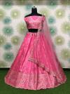 Pink color banglori satin silk lehenga with badla embroidery work