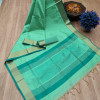 Sea green color aasam weaving saree with ikat woven pallu