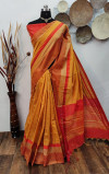 Mustard yellow color raw silk weaving saree with temple woven border
