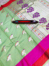 Green color linen cotton silk saree