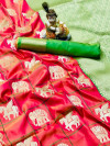 Peach color soft silk saree with golden and silver zari work