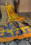 Mustard yellow color handloom raw silk saree with zari woven work
