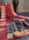 Red color pure chanderi cotton saree with zari woven work