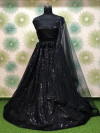 Black color heavy net lehenga with thread embroidery and sequins work