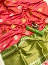Peach color soft banarasi lichi silk saree with golden and silver zari work