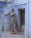 Gray color pure jamdani weaving saree with zari work
