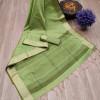 Green color aasam weaving saree with ikat woven pallu