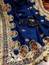 Navy blue color vichitra silk embroidery work saree