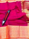 Pink color kota doriya silk saree with zari weaving work