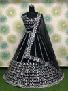 Black color net lehenga with embroidery sequins work