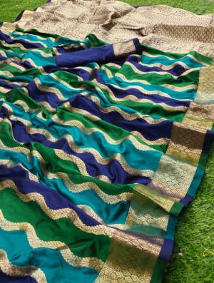 Blue and green color banarasi silk saree with zari weaving work