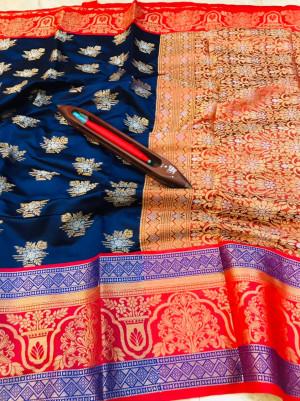 Navy blue color kanchipuram handloom weaving silk saree with zari work