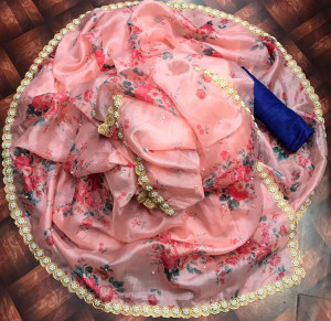 Pink color organza silk saree with different floral digital print