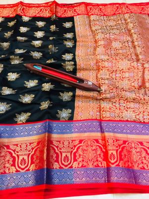 Black color kanchipuram handloom weaving silk saree with zari work