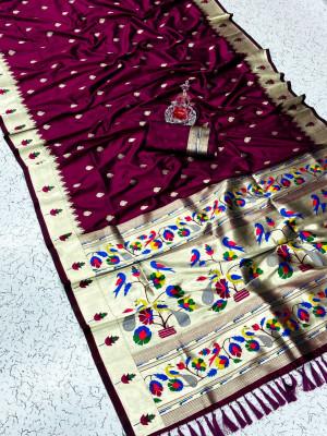 Magenta color pure kanchipuram paithani silk saree with zari work