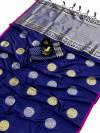 Royal blue color banarasi silk weaving jacquard saree with rich pallu