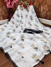 Black and white color semi linen cotton saree