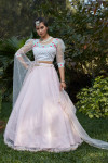 Pink color cotton net lehenga with metalic foil printed work