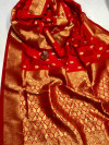 Red color soft banarasi lichi silk saree with golden zari weaving work