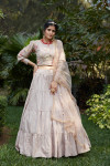 Dusty pink color cotton lehenga with jacquard weaving work