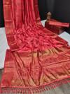 Gajari color banarasi khicha silk weaving saree with zari work