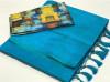 Firoji color plain soft silk saree