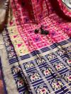 Pink color banarasi weaving saree