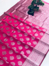 Pink color soft cotton silk weaving saree with silver zari work